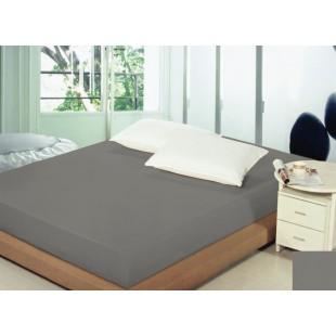Sivé bavlnené prestieradlo na posteľ s gumičkou