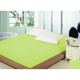 Zelené bavlnené prestieradlo na posteľ s gumičkou