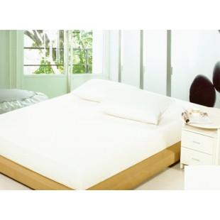 Biele bavlnené prestieradlo na posteľ s gumičkou