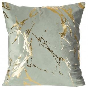 Sivá zamatová obliečka na vankúš so zlatým motívom