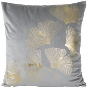 Sivá zamatová obliečka so zlatým rastlinným motívom