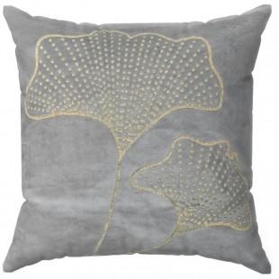 Svetlosivá zamatová obliečka na vankúš s rastlinným motívom