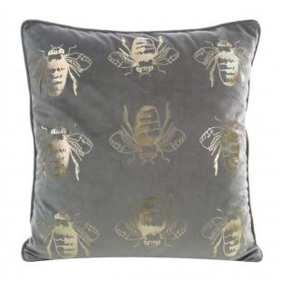 Sivá zamatová obliečka so zlatými včeličkami