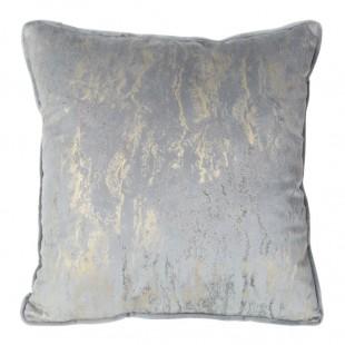 Obliečka na vankúš sivá s moderným zlatým zdobením