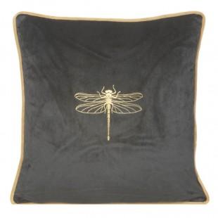 Tmavosivá zamatová obliečka na vankúš so zlatým zvieracím motívom