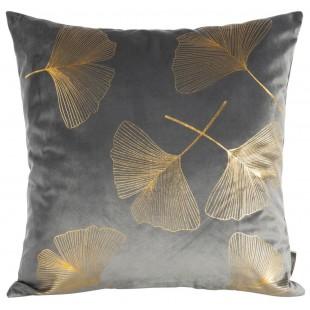 Tmavosivá dekoračná obliečka so zlatým rastlinným motívom