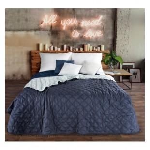Obojstranný modrý prehoz na posteľ so štvorcovým prešívaním
