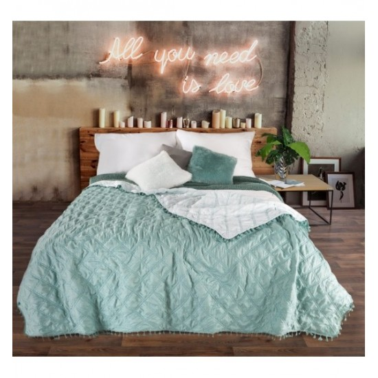 Mentolový obojstranný prehoz na posteľ so štvorcovým prešívaním