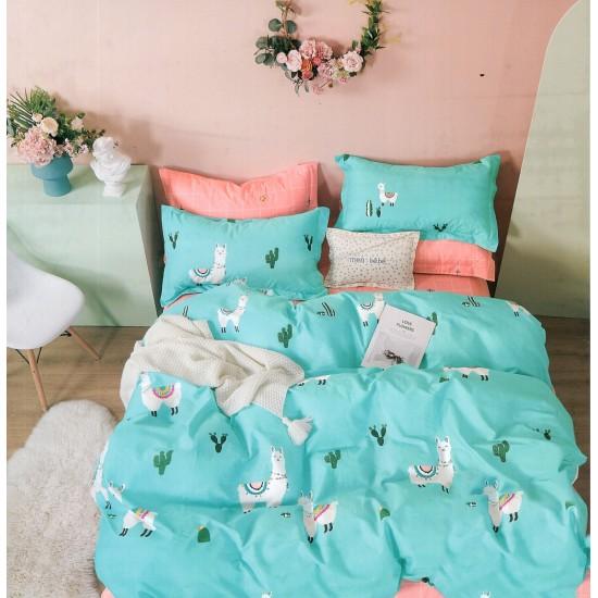 Modrá posteľná obliečka z bavlneného saténu s lamami