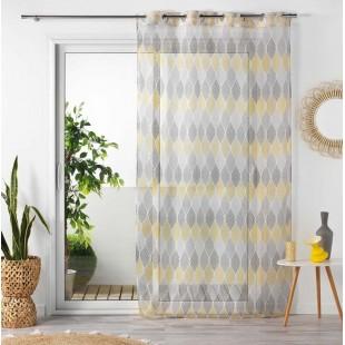Sivo-žltá vzorovaná záclona so zavesením na kruhy