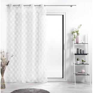 Biela priehľadná záclona so sivo-bielymi kruhmi