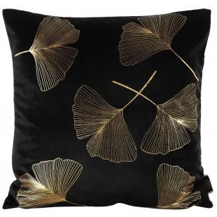 Čierna zamatová obliečka so zlatým rastlinným motívom
