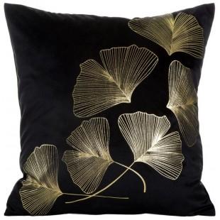 Čierna dekoračná obliečka na vankúš so zlatým motívom