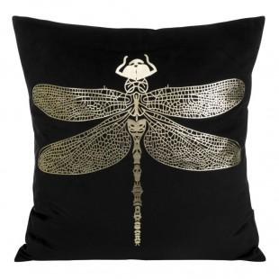 Čierna zamatová obliečka na vankúš so zlatou vážkou