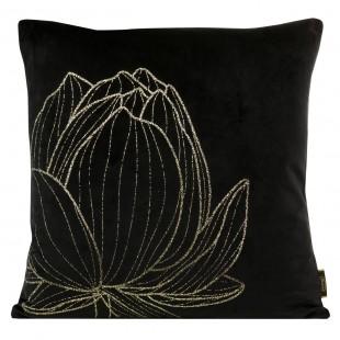 Obliečka na vankúš čierna so zlatým kvetom