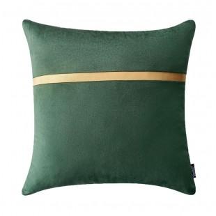 Zelená dekoračná obliečka na vankúš so zlatým pásikom