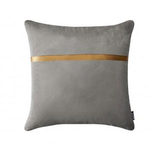 Svetlosivá dekoračná obliečka na vankúš so zlatým pásikom