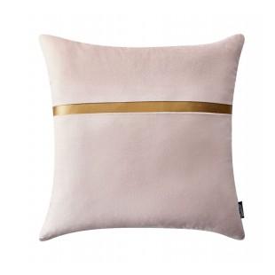 Ružová dekoračná obliečka na vankúš so zlatým pásikom