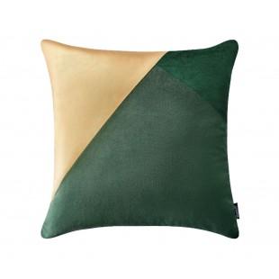 Zeleno-zlatá luxusná zamatová dekoračná obliečka na vankúš