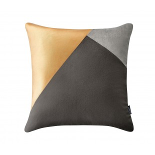 Sivo-zlatá luxusná zamatová dekoračná obliečka na vankúš