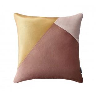 Ružovo-zlatá luxusná zamatová dekoračná obliečka na vankúš