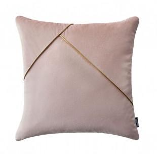 Ružová dekoračná obliečka na vankúš s jemnou zlatou aplikáciou