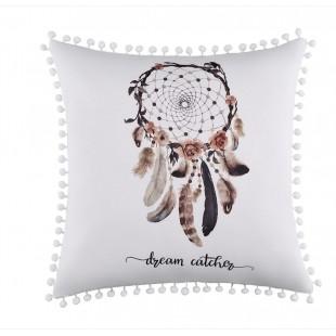 Biela dekoračná obliečka so strapčekmi a motívom lapača snov