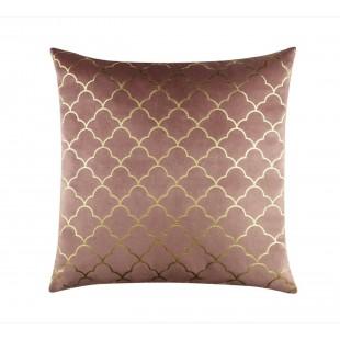 Zamatová ružová obliečka na vankúš s elegantným zlatým vzorom