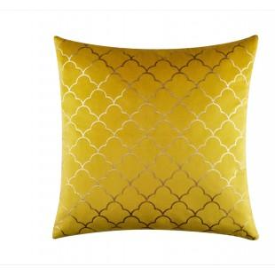 Zamatová žltá obliečka na vankúš s elegantným zlatým vzorom