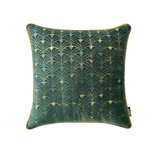 Zelená zamatová vzorovaná obliečka so zlatým lemom