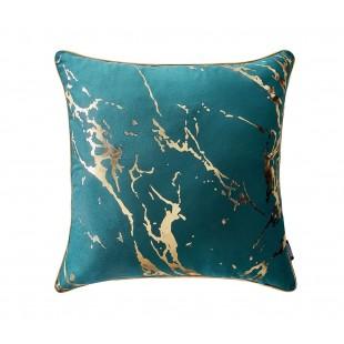 Tyrkysová dekoračná obliečka na vankúš so zlatým zdobením