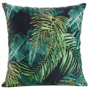 Čierna zamatová obliečka so zeleným rastlinným motívom