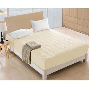 Krémový prešívaný napínací chránič na matrac