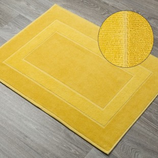 Žltý bavlnený kúpeľňový koberček