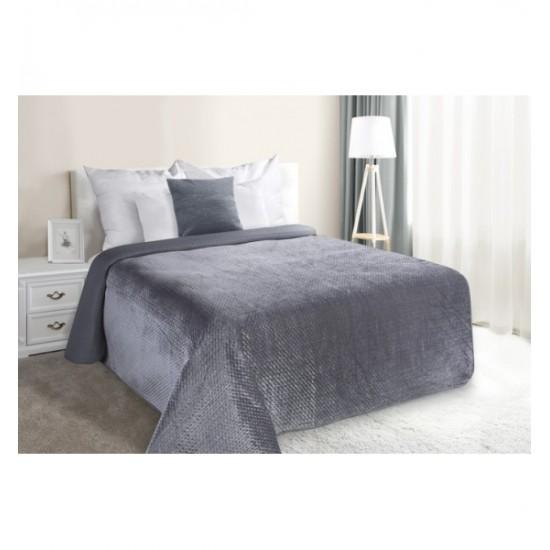 Tmavosivá plyšová obojstranná prešívaná prikrývka na posteľ