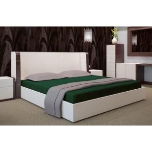 Tmavozelená posteľná plachta zo saténovej bavlny s gumičkou