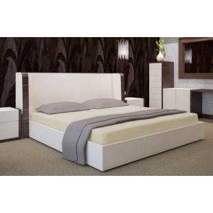Svetlobéžová posteľná plachta zo saténovej bavlny bez gumičky