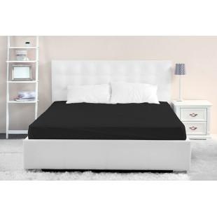 Čierna posteľná plachta z mikrovlákna bez gumičky