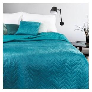 Tyrkysový mäkký obojstranný prehoz na posteľ s cik-cak prešívaním