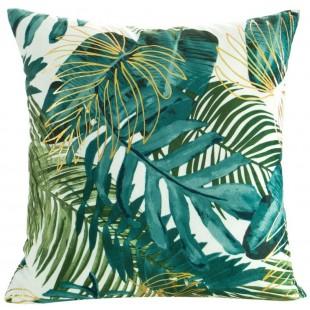 Obliečka na vankúš biela so zeleným rastlinným motívom