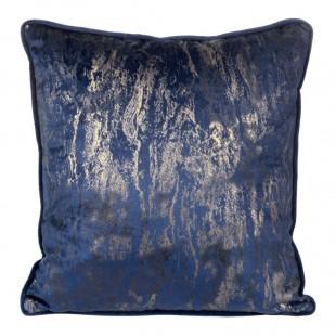 Obliečka na vankúš modrá s moderným zlatým zdobením