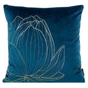 Obliečka na vankúš modrá so zlatým kvetom