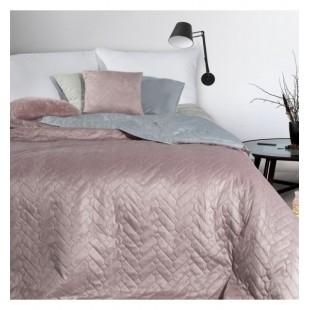 Ružovo sivý obojstranný prehoz na posteľ s cik-cak prešívaním