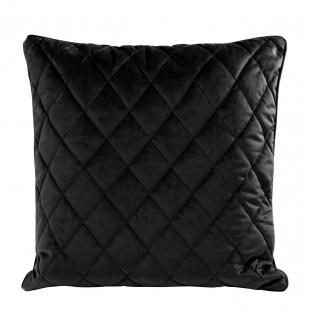 Obliečka na vankúš čierna s kosoštvorcovým prešívaním