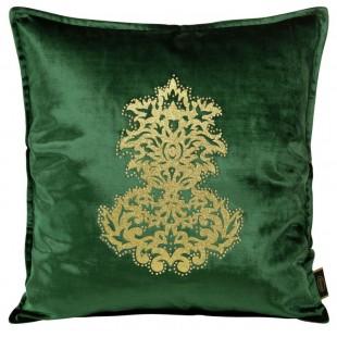 Obliečka na vankúš zelená so zlatou aplikáciou