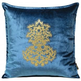 Obliečka na vankúš modrá so zlatou aplikáciou