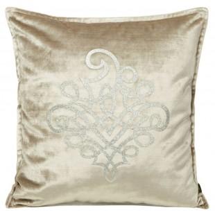 Obliečka na vankúš béžová so strieborným ornamentom
