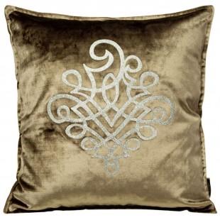 Obliečka na vankúš tmavobéžová so strieborným ornamentom