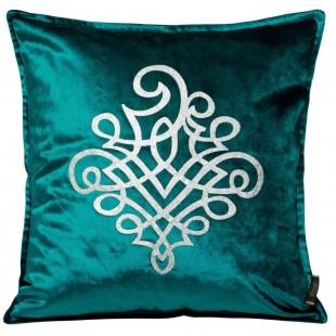 Obliečka na vankúš tyrkysová so strieborným ornamentom