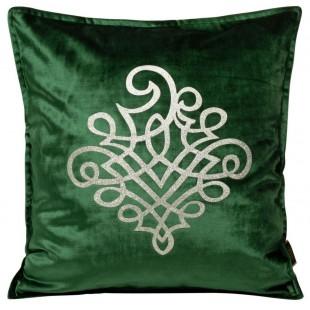 Obliečka na vankúš zelená so strieborným ornamentom